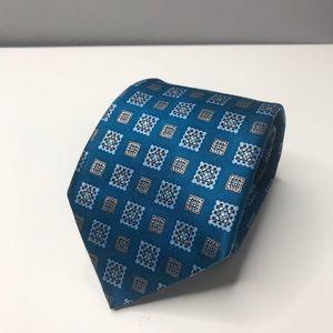 Ermenegildo Zegna Teal Blue Silk Gold Printed Tie